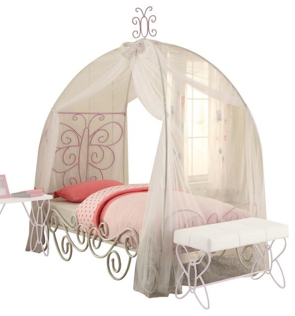 Priya Ii Bed With Canopy, White And Light Purple, Twin.