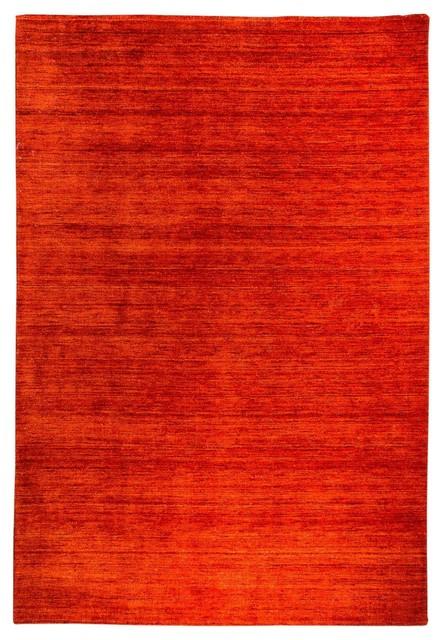 Plain Gabbeh Wool Rug, Rusty Red, 300x250 cm