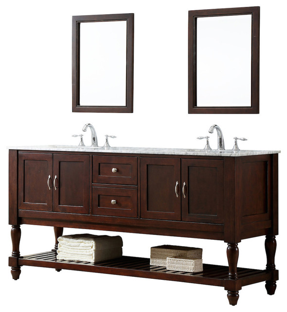 Spencer Carrara Marble Double Bathroom Vanity, 70.