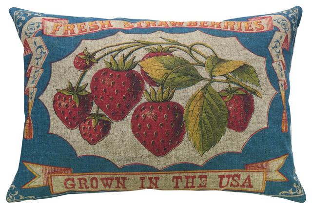 Strawberries Linen Pillow 18 Quot X12 Quot Farmhouse