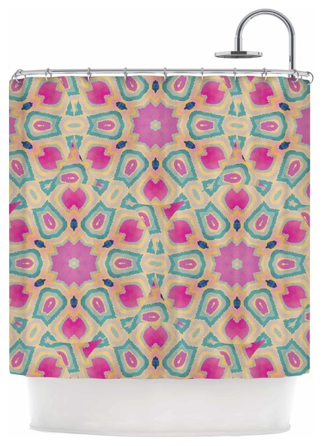 Nika Martinez Arabesque Pink Teal Shower Curtain Contemporary