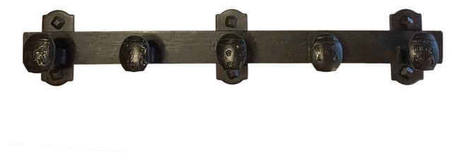 "Cobre Railroad Spike Coat Rack, Black Iron Finish, 19""."