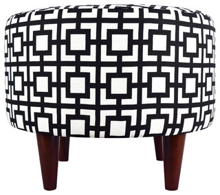 Sophia Fabric Ottoman With Round Espresso Finished Legs