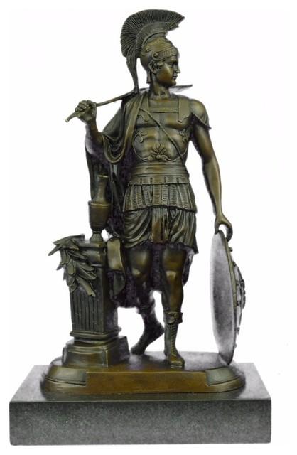 Bronze Sculpture Art Deco Large Odysseus Roman Warrior Statue