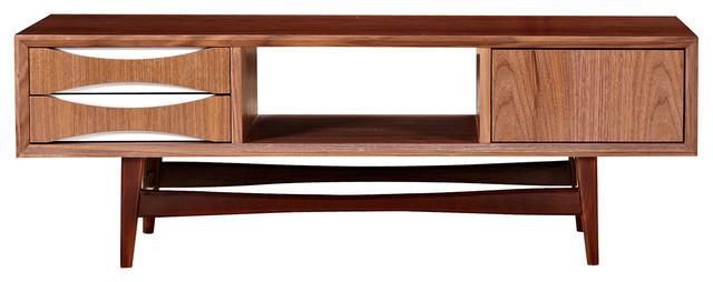 midcentury modern walnut tv stand hoisin low media console white midcentury