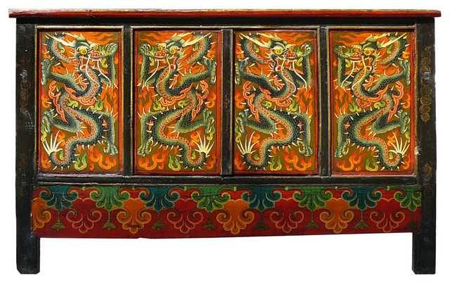 Consigned China Tibet Graphic Dragon, Brown Side Cabinet Table Storage