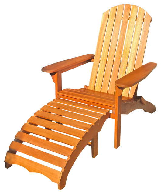 Large Adirondack Chair With Footrest Brown Stain