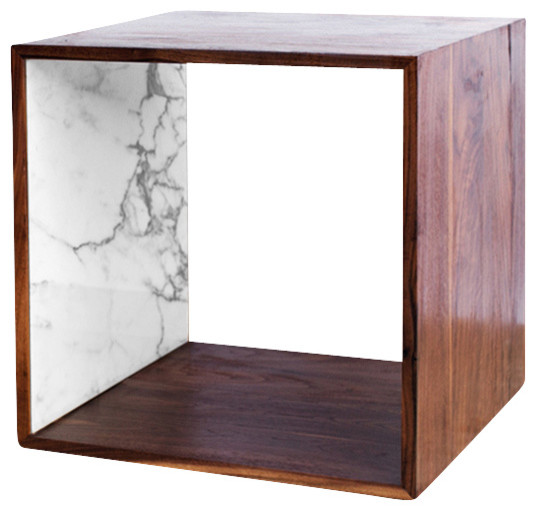 Marble And Walnut Cube