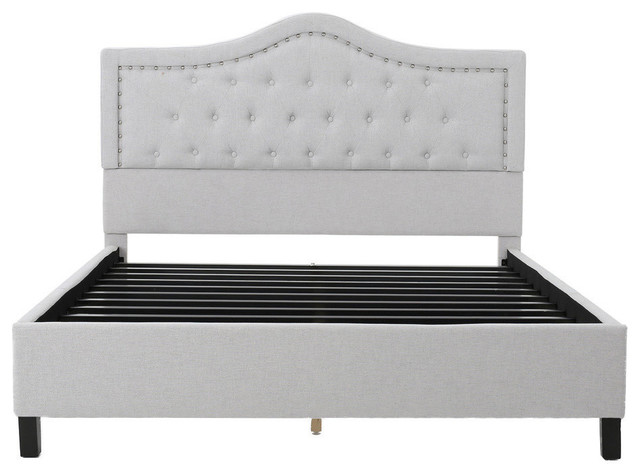 GDF Studio Adelais Fully Upholstered Queen Bed Set, Sky Gray