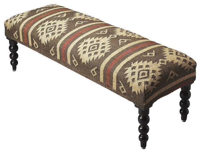 Wool Jute Upholstered Bench.