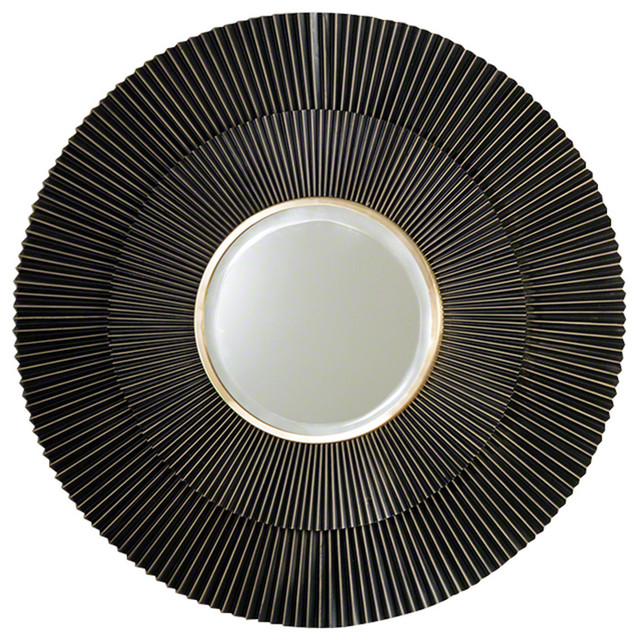 Luxe Round Pleated Dark Bronze Brass Ribbed Wall Mirror 41 Metal Layered.