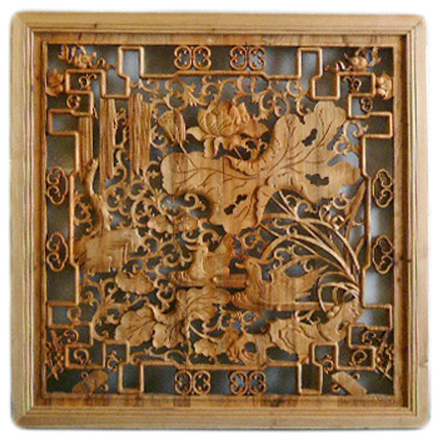 chinese square lotus flower birds wooden wall plaque panel hcs1283 asian wallaccents