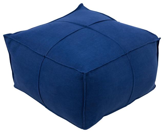 Solid Linen Cube Pouf, Blue.