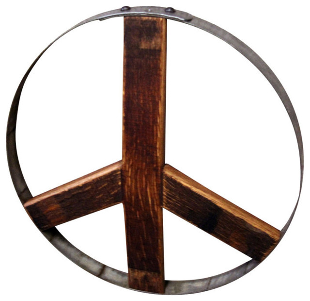 Wine Barrel Wall Art wine barrel peace sign, large - rustic - metal wall art -eco