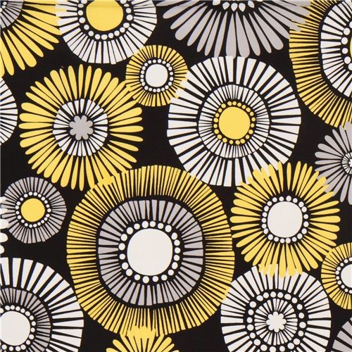 black flower fabric by Michael Miller yellow - Fabric - by Kawaii ...