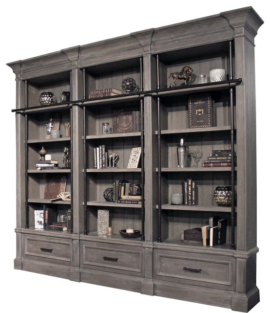 Parker House Gramercy Park 3 Piece Museum Bookcase Library Wall In Smoke