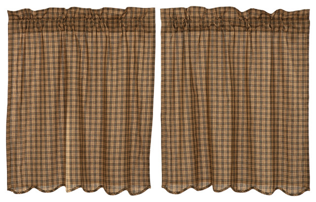Green Rustic Kitchen Curtains Ridgeline Tier Rod Pocket Cotton Plaid, Set  of 2