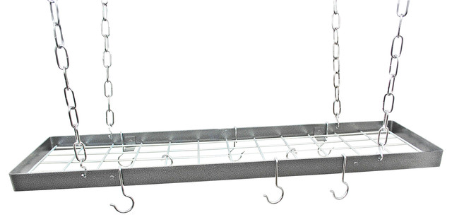 Narrow Hanging Rectangle Pot Rack With Grid, Hammered Steel And Chrome.