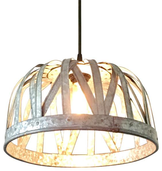 Galvanized Strap Basket Pendant Light.
