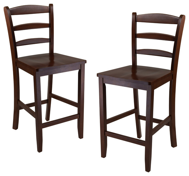 Benjamin 2 Pc Ladder Back 24 Quot Counter Stool Set Antique