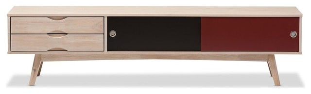 Foxhill Scandinavian Inspired Multi-Colored Solid Rubberwood Tv Stand.
