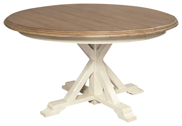 "round expandable dining table, white oak, 54"" - beach style"