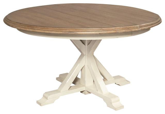 Coastal Beach White Oak Round Expandable Dining Table Beach - Round expandable outdoor dining table