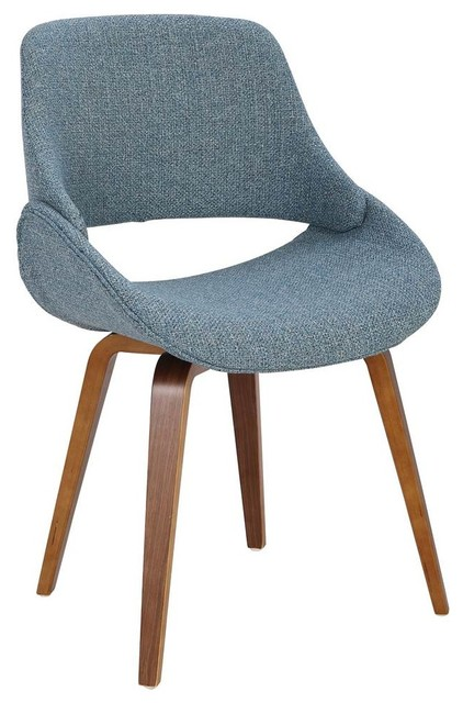 Mid-Century Modern Dining Chairs, Set Of 2, Blue.