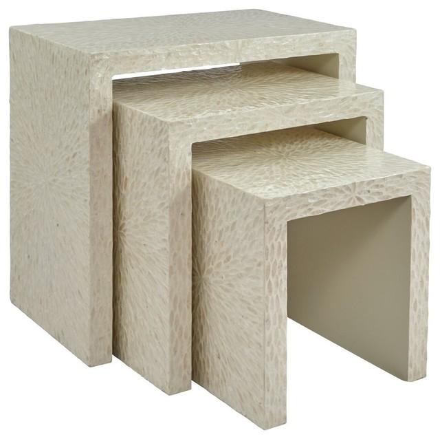 Global Archive Capiz Basket Weave Nesting Tables Set Of 3, Natural.