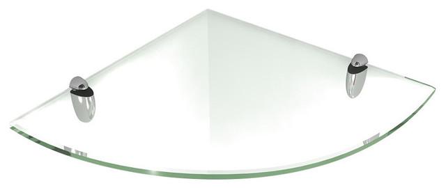 Floating Corner Clear Glass Shelf With Chrome Brackets ...