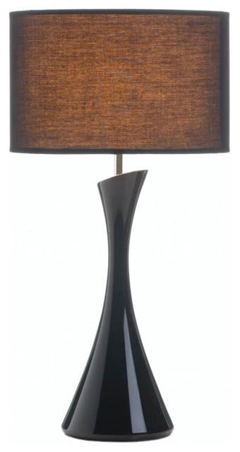 Sleek Modern Black Table Lamp, Black/dark Shade.