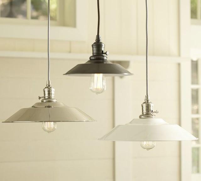 Wall Sconces Under Usd 25 : PB Classic Pendant, Metal Flared - Industrial - Pendant Lighting - Sacramento - by Pottery Barn
