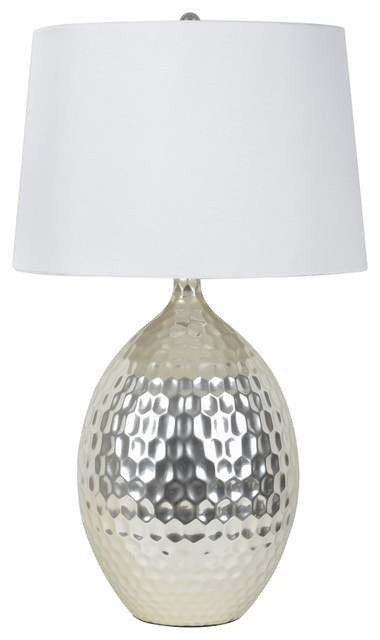 Silver Hammered Ceramic Table Lamp Contemporary Lamps