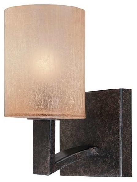 1 Light Standard Bulb Wall Sconce, Antique Bronze - Rustic - Wall Sconces - by 1800Lighting