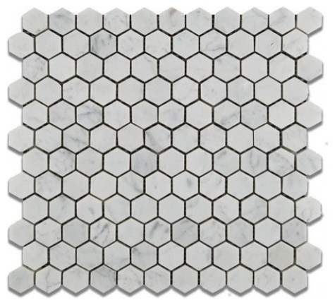 White Marble Hexagon Mosaic Tile 12x12 Honed Marble From Italy Contemporary Mosaic Tile By Wall Tile Houzz