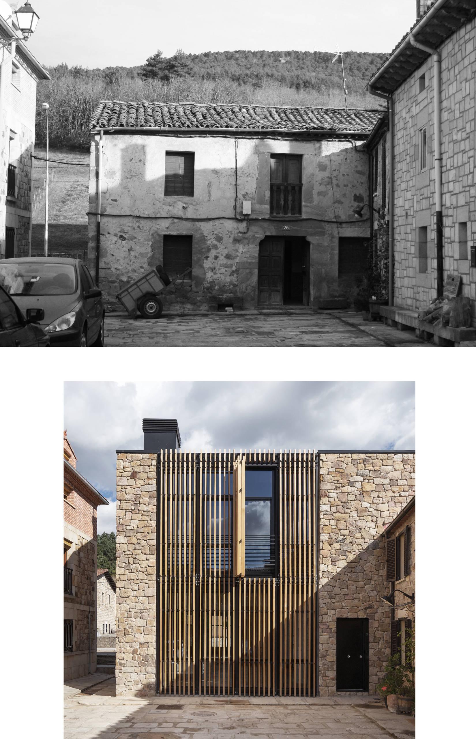 Comparativa del antes y después de la fachada principal