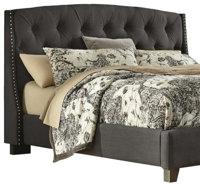 ashley furniture ashley kasidon fabric upholstered queen tufted headboard gray view in your. Black Bedroom Furniture Sets. Home Design Ideas