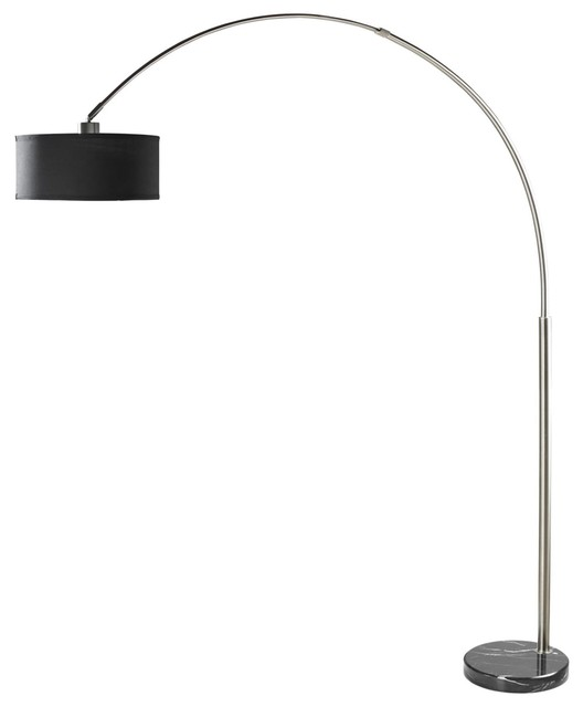 brushed steel arc floor lamp black shade marble base contemporary brass uk modern canada arch target