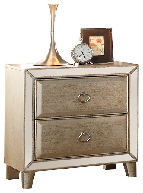 Fantastic Voeville Mirrored Nightstand, Antique Gold - Transitional  LR72