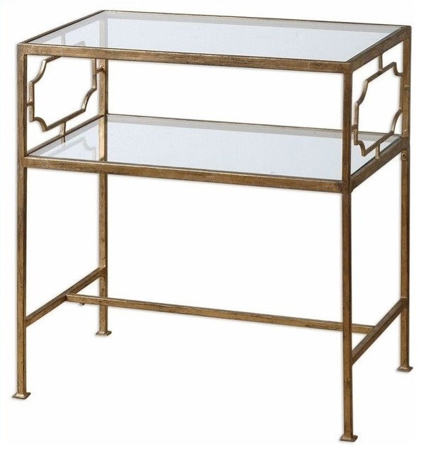 Uttermost Genell Gold Leafed Iron Glass Side Table Contemporary Side Tables  And