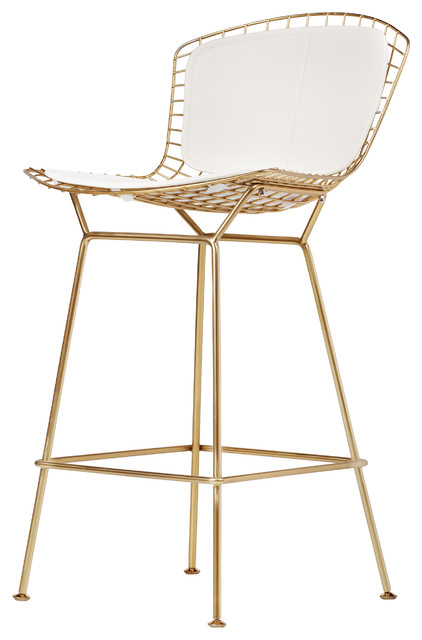Bertoia Style Counter Stool Champagne Gold Contemporary