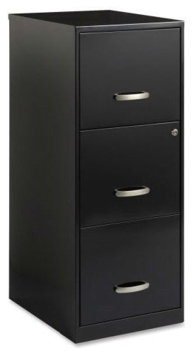 Black Metal 3-Drawer Vertical Filing File Cabinet With 2 Locking Drawers - Filing Cabinets - by ...