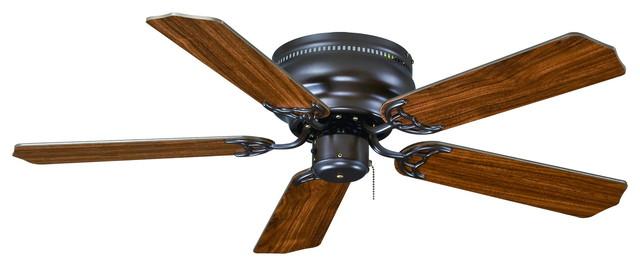 """Flush Mount 42"""" Ceiling Fan, Bronze, Walnut Blades."""