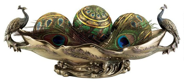 Faux Bronze Pea Decorative Centerpiece Sculptural Bowl