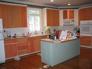 My diy is finally finished - Painting wood laminate kitchen cabinets ...