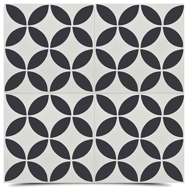 """8""""x8"""" Amlo Handmade Cement Tile, Black And White, Set Of 12."""