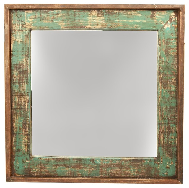 Gentil Ranch House Rustic Turquoise Mirror, 31x31