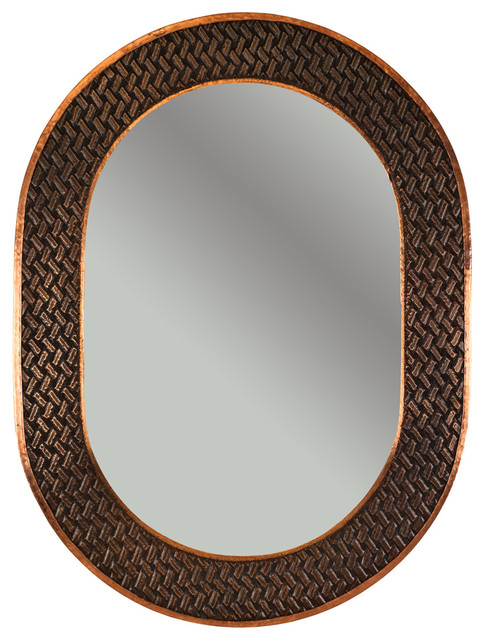 35 Quot Hand Hammered Oval Copper Mirror With Decorative Braid
