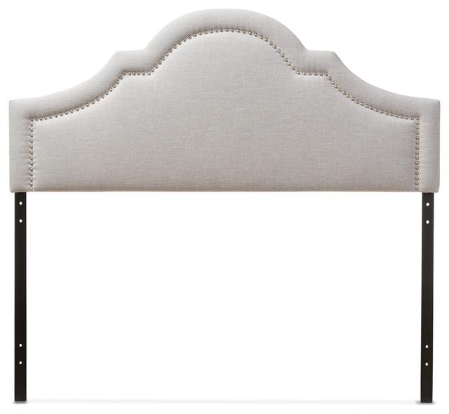 Rita Fabric Upholstered Headboard, Grayish Beige, Full.