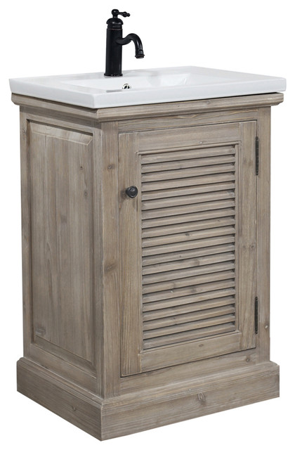 Superbe Rustic Style 24, Inch Bathroom Vanity With Ceramic Single Sink, No Faucet